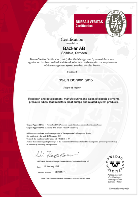 Certificate 9001, Backer AB