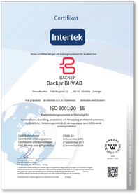 Certificate 9001, Backer BHV