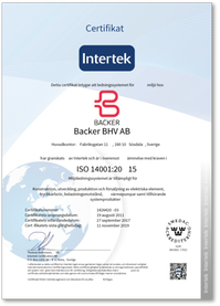 Certificate ISO 14001 Backer